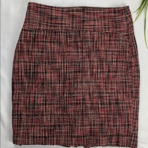 THE LIMITED RED AND BLACK TWEED MINI SKIRT SIZE 4